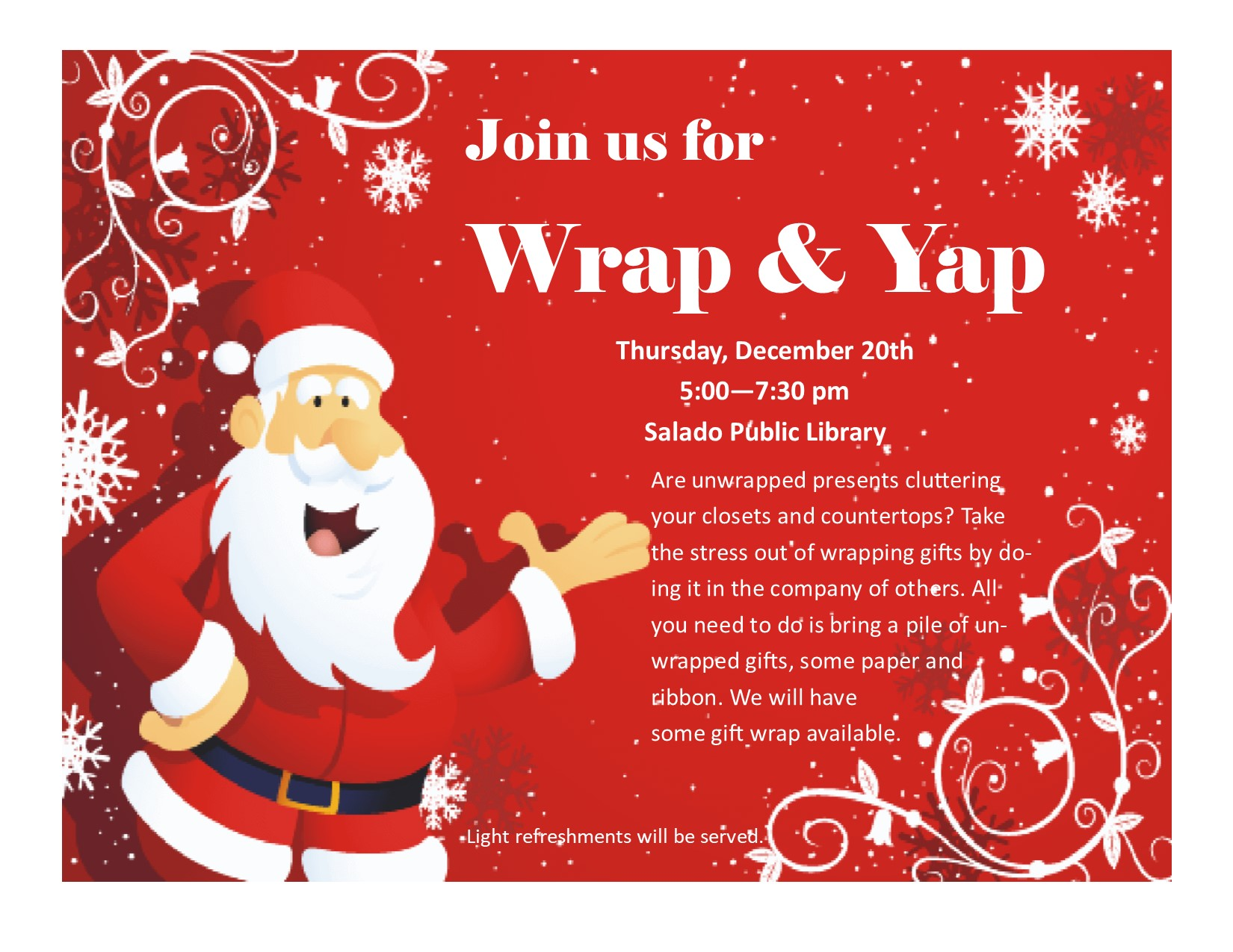 Join us tomorrow for Wrap & Yap!