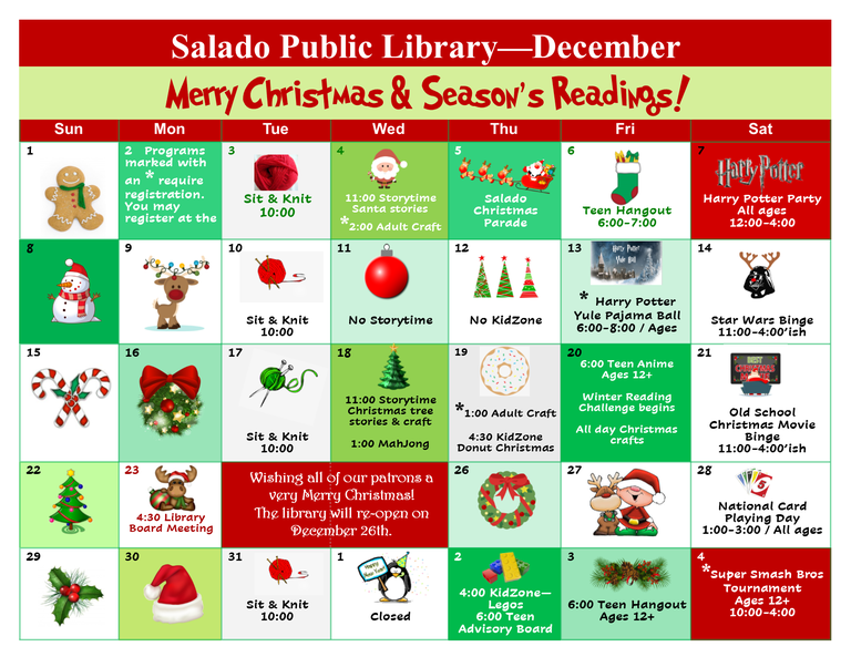 December Library Events